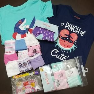 2T 3T Bundle Hanes Girls Briefs Socks PJ T-Shirts